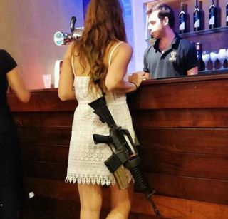 Girl bar gun